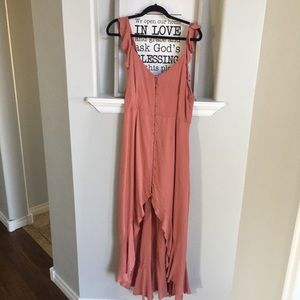 NWT Lush Button Front Hi Low Midi Dress Ruffle
